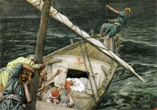 Jonah And Jesus Sleeping In The Boat During A Storm